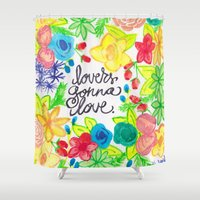 lovers Shower Curtains featuring lovers by lindsey ann