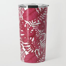 Modern tropical bright pink cheese leaves floral Travel Mug