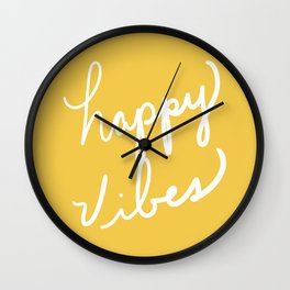 Happy Vibes Yellow Wall Clock