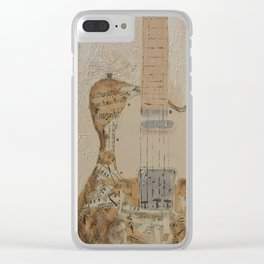 vintage sheet music on electric guitar Clear iPhone Case