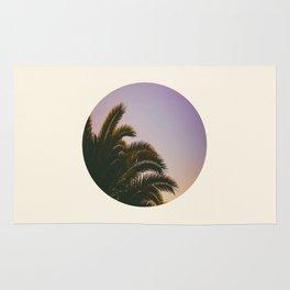 Sunset Purple Palm Tree Circle Photo Rug