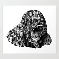 gorilla Art Prints featuring Gorilla by BIOWORKZ