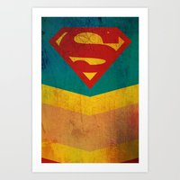 supergirl Art Prints featuring Supergirl by Fries Frame