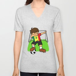 Senegal  Soccer Ball Dabbing Senegalese Football Goal Unisex V-Neck