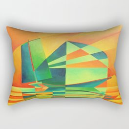 Chinese Junk Sails at Sunrise Rectangular Pillow