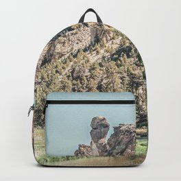 Vintage Smith Rock State Park // River and Rocks Scenic Hiking Landscape Photograph Backpack