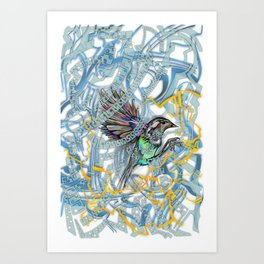 Songbird Trapped in a Cage of Its Expectations Art Print