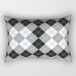 Grey-Black Argyle Design Rectangular Pillow
