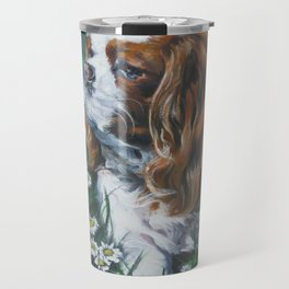 Beautiful Blenheim Cavalier King Charles Spaniel Dog Art Painting by LA.Shepard Travel Mug