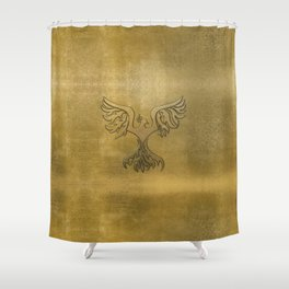 Phoenix Bird Gold Embossed Shower Curtain