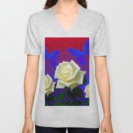 ROSES BLUE BUTTERFLIES RED OPTIC ART Unisex V-Neck