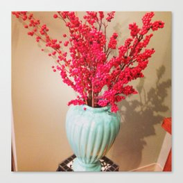 Red Berries in a light blue vase Canvas Print