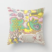 rabbits Throw Pillows featuring Rabbits by Raewyn Haughton