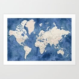 Light brown and blue watercolor detailed world map Art Print
