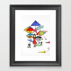 NYC Rain with Penguins Framed Art Print