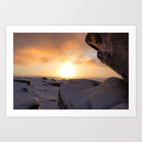 Winter Sunrise on Higger Tor Art Print