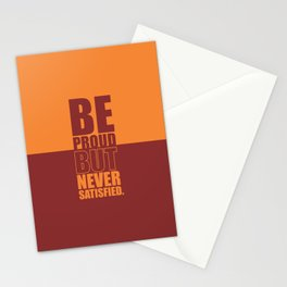 Lab No. 4 -  Be Proud But Never Satisfied Gym Motivational Quotes Poster Stationery Cards