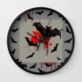 GREY ART OF FLYING BLACK BATS BLOODY  HALLOWEEN PARTY Wall Clock