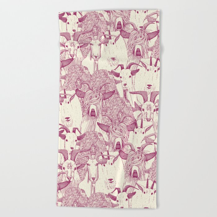 just goats cherry pearl Beach Towel