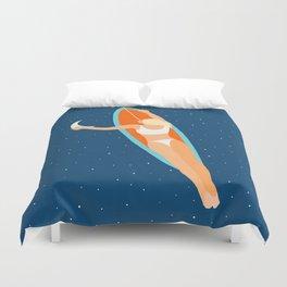 Moon Surfing #illustration #painting Duvet Cover