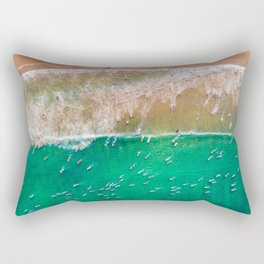 Surfers Paddling Out Rectangular Pillow