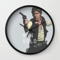 han solo Wall Clocks featuring Han Solo / Star / Wars by Earl of Grey
