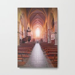 Inside french church of Cremieu in Isere Metal Print