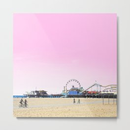 Santa Monica Pier with Ferries Wheel and Roller Coaster Against a Pink Sky Metal Print