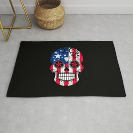 Sugar Skull with Roses and Flag of The United States Rug