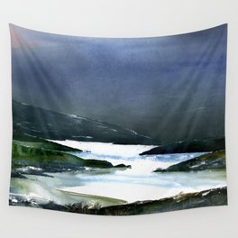 Icy white waters in forest black onyx mountains Wall Tapestry
