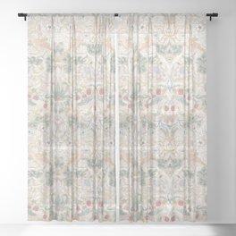 William Morris Vintage Strawberry Thief Soft Cream Sheer Curtain