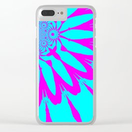 The Modern Flower Turquoise & Fushia Clear iPhone Case