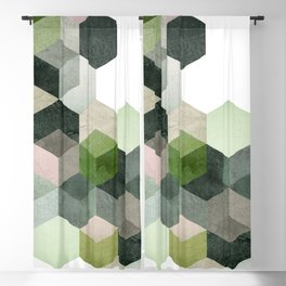 Modern Green Hexagon Art 6 Blackout Curtain