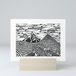 Mountain Block Print Mini Art Print