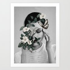 Woman and Butterfly Art Print