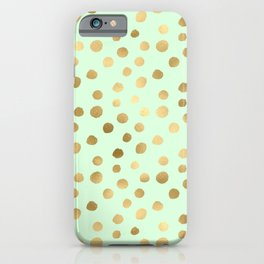Mint Green & Gold Polka Dot Pattern iPhone Case