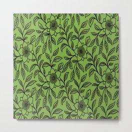 Vintage Lace Floral Greenery Metal Print