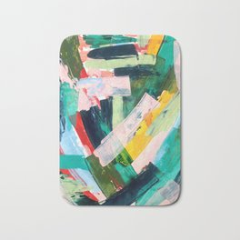 Livin' Easy - a bright abstract piece in blues, greens, yellow and red Bath Mat