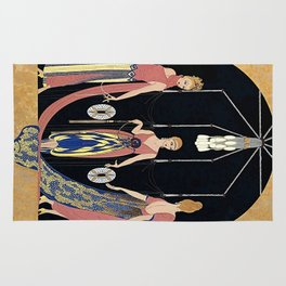 "Art Deco Design ""The Three Graces"" by Erté Rug"
