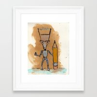 novelty Framed Art Prints featuring Lil' Dorkbot and the Novelty Pencil by Taylor Winder