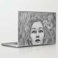 ohm Laptop & iPad Skins featuring Lady July - preparing for the summer by Thubakabra