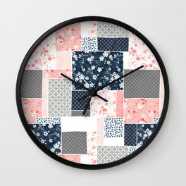 Cherry blossom patchwork in peach and navy blue Wall Clock