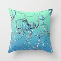 drunk Throw Pillows featuring Drunk Octopus by TAOJB