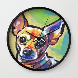 Fun Chihuahua Dog bright colorful Pop Art Wall Clock