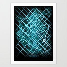 Brampton, ON, Canada, Blue, White, Neon, Glow, City, Map Art Print