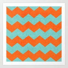 chevron - teal and orange Art Print