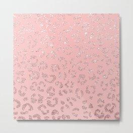 Modern faux rose gold glitter leopard ombre pink pattern Metal Print