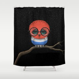 Baby Owl with Glasses and Dutch Flag Shower Curtain