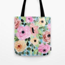 Watercolor Flowers Preppy Pastels Tote Bag