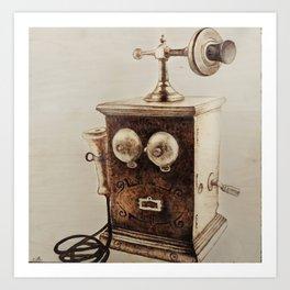 Vintage Telephone Wood Burning Art Print